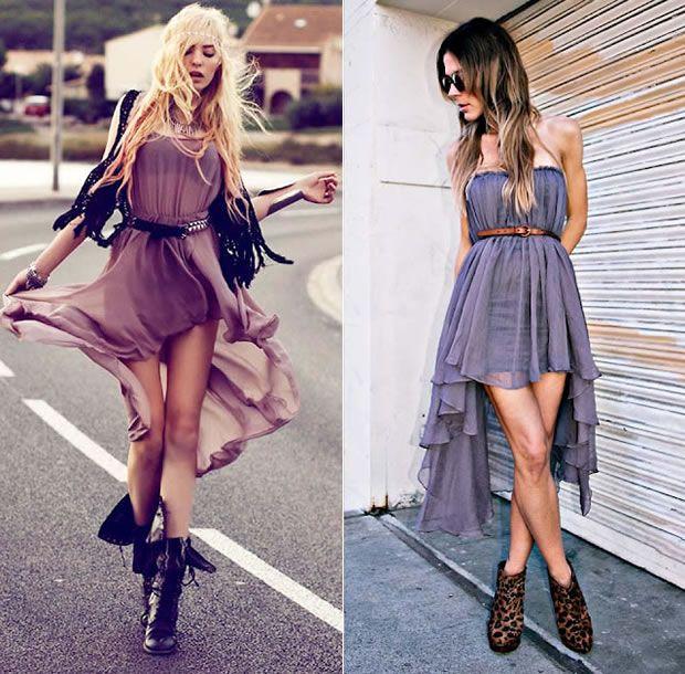 vestidos mais curtos na frente e compridos atrás formando uma